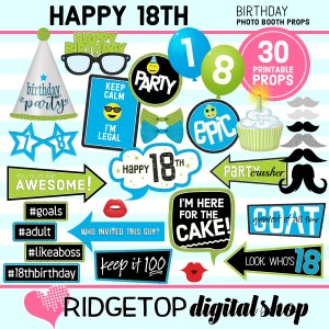 Ridgetop Digital Shop | 18th birthday printable photo booth props