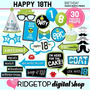 Ridgetop Digital Shop | 18th birthday printable photo booth props