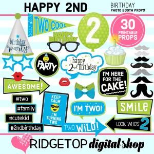 Ridgetop Digital Shop | 2nd Birthday Printable Photo Booth Props