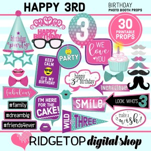 Ridgetop Digital Shop 3rd birthday printable photo booth props