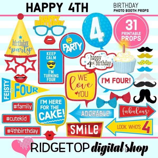 Ridgetop Digital Shop | 4th birthday party printable