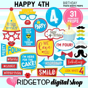 Ridgetop Digital Shop | 4th birthday party printable
