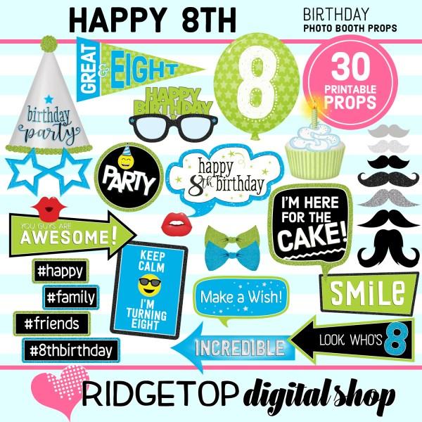 Ridgetop Digital Shop | 8th Birthday Printable Photo Booth Props