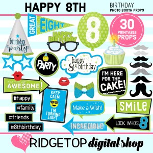 Ridgetop Digital Shop | 8th Birthday Printable Photo Booth Props