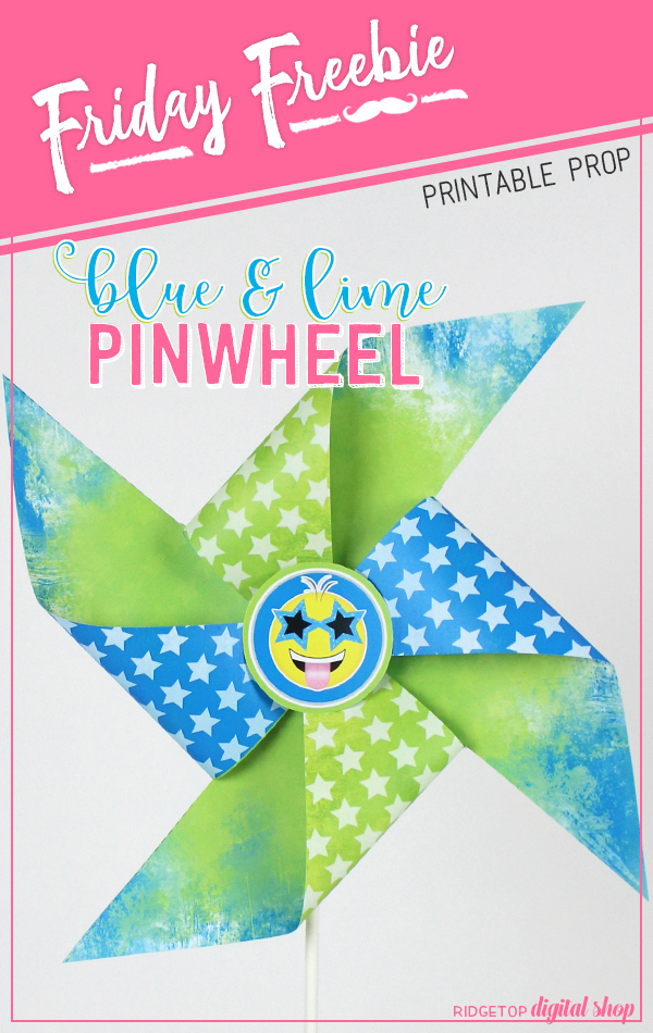 Ridgetop Digital Shop | Friday Freebie | Blue and Lime Pinwheel | Party Printable