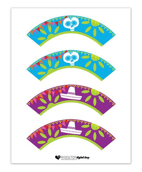 Ridgetop Digital Shop | Dia de los Muertos | Snapshot Free Printables | Mini Cupcake Wrapper | Day of the Dead