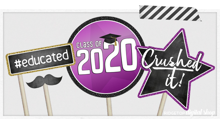Class of 2020 Photo Booth Props | Purple and Gold Party Planning | Printable Graduation Party Decor | Ridgetop Digital Shop