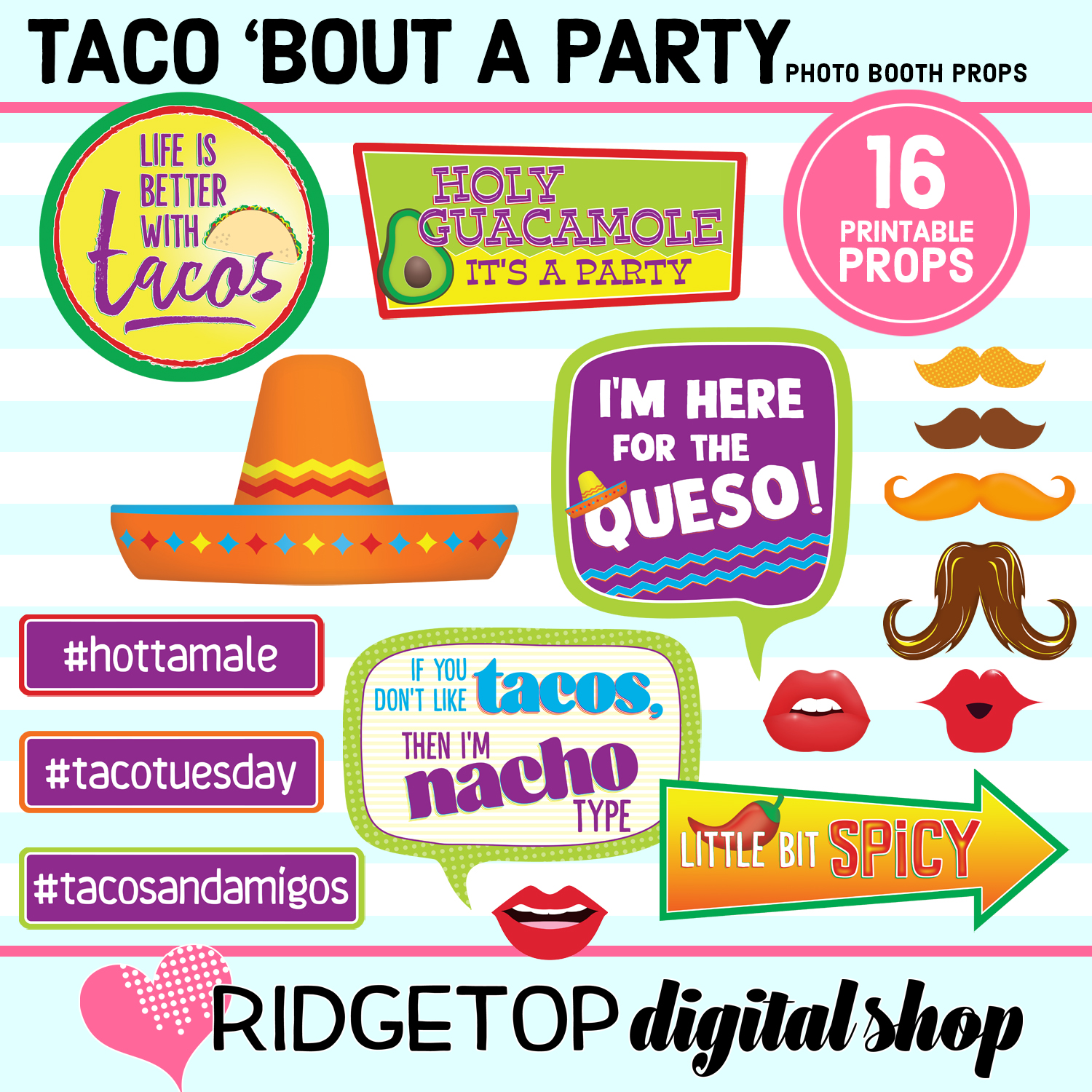 Taco bout a party printable photo booth props