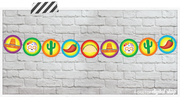 Taco Tuesday Garland and Cupcake Toppers Free Printable | Ridgetop Digital Shop