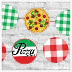 Pizza Party Garland and Cupcake Toppers Free Printable