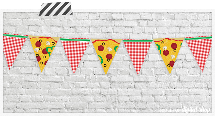 Pizza Party Banner Free Printable | Ridgetop Digital Shop