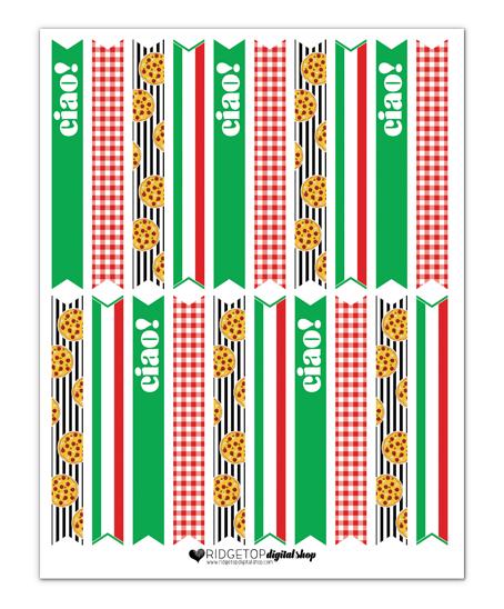 Pizza Party Straw Flags Free Printable | Ridgetop Digital Shop