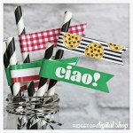Pizza Party Straw Flags Free Printable