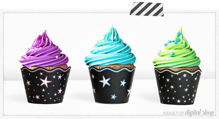Neon Star Cupcake Wrapper Printable | Ridgetop Digital Shop