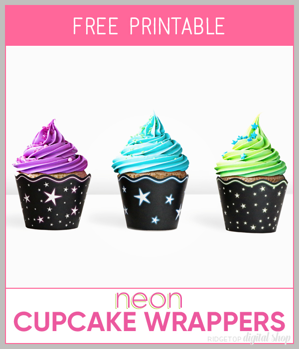 Neon Star Cupcake Wrapper Printable | Glow in the Dark Party Printable | Neon Party Printable | Black Light Party Printable | Star Party Printable | Ridgetop Digital Shop