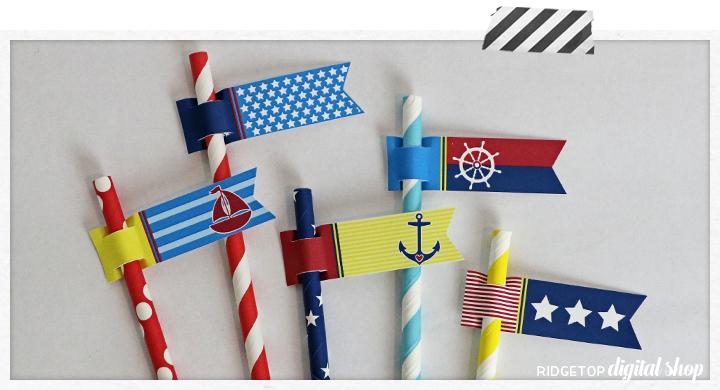 Nautical Straw Flags Free Printable | Ridgetop Digital Shop