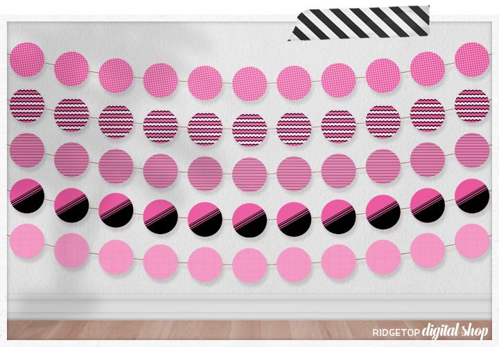 Pink Party Circles Free Printable | Pink Party Decor Free Printable | Ridgetop Digital Shop