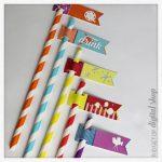 Movie Night Straw Flags Free Printable