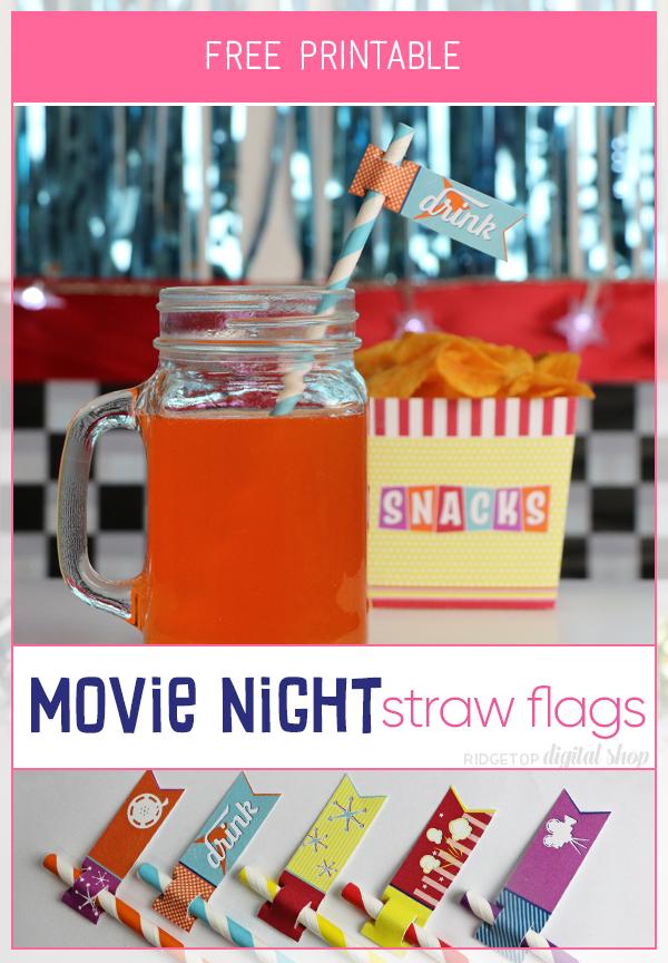 Movie Night Straw Flags Free Printable | Backyard Movie | 50s Movie | Retro 50s Party Theme | Ridgetop Digital Shop