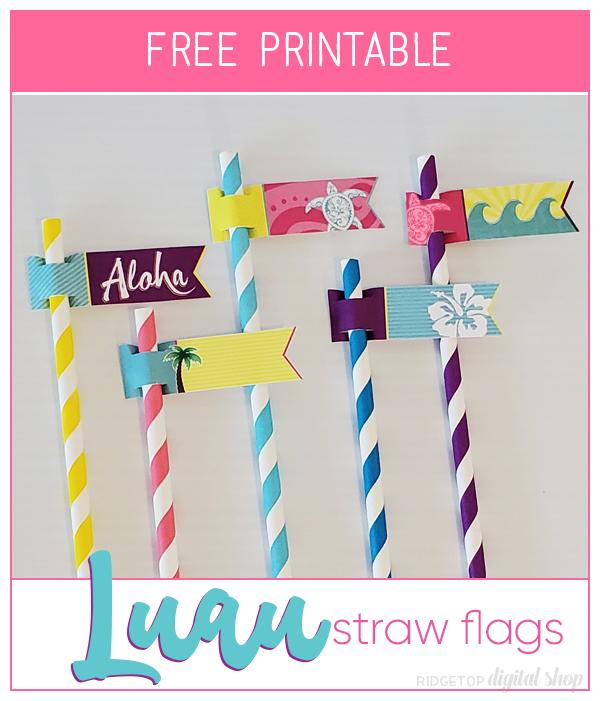 Luau Straw Flags Free Printable | Luau Party Planning | Ridgetop Digital Shop