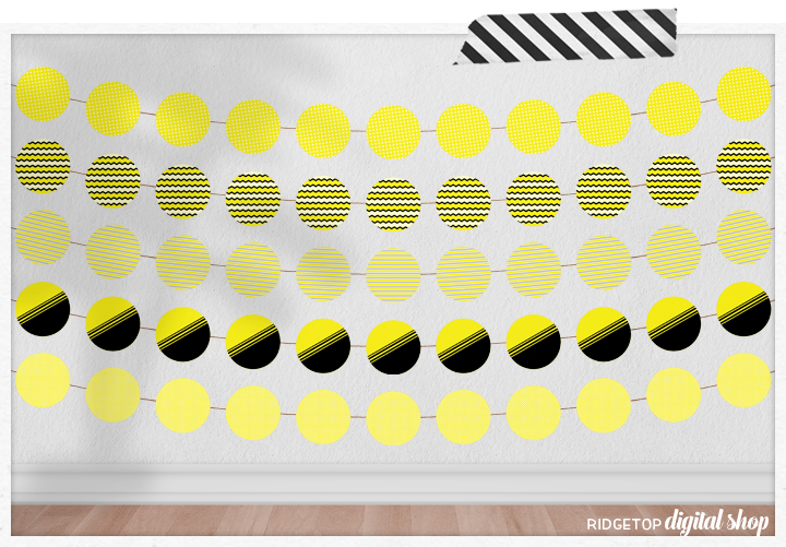 Yellow Party Circles Free Printable | Yellow Color Scheme | Yellow Birthday Party | Bee Party Theme | Yellow Party Decor | Ridgetop Digital Shop