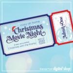Christmas Movie Night at Home Editable Ticket Free Printable