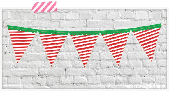 Ridgetop Digital Shop | Candy Cane Pennant Banner Free Printable