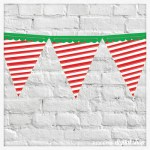 Candy Cane Pennant Banner Free Printable
