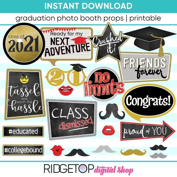 Class of 2021 Photo Booth Props - Printable - Black Red - Graduation Party