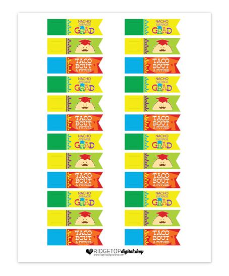Nacho Average Grad Straw Flags Free Printable   Ridgetop Digital Shop
