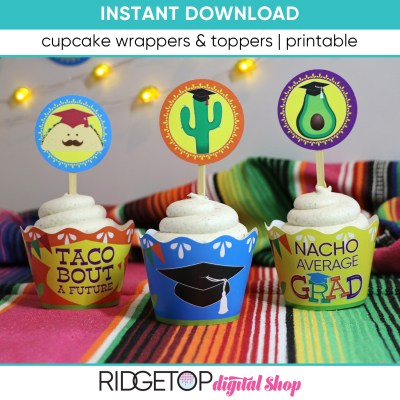 Taco Graduation Cupcake Wrappers and Toppers - printable