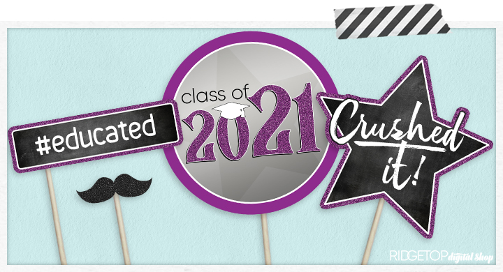 Class of 2021 Photo Booth Props - Printable - Purple