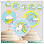 Unicorn Garland and Cupcake Toppers Free Printable