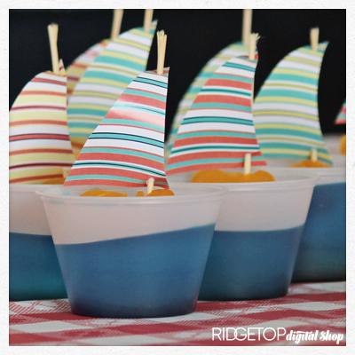 Nautical Party Sailboat Jello Cup Free Printable | Ridgetop Digital Shop