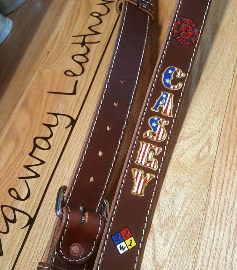 Stitched Leather Radio Strap w/ Theme Paint