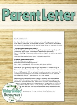 Puberty Parent Letter | Ridgy Didge Resources | Australia