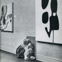 Children not looking at modern art
