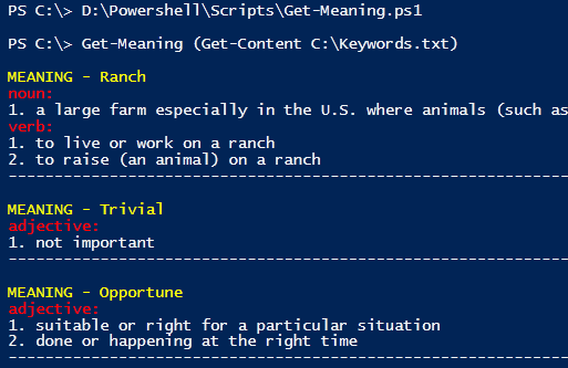 Powershell : Using Online Dictionaries to Data Mine Word Meanings in one shot
