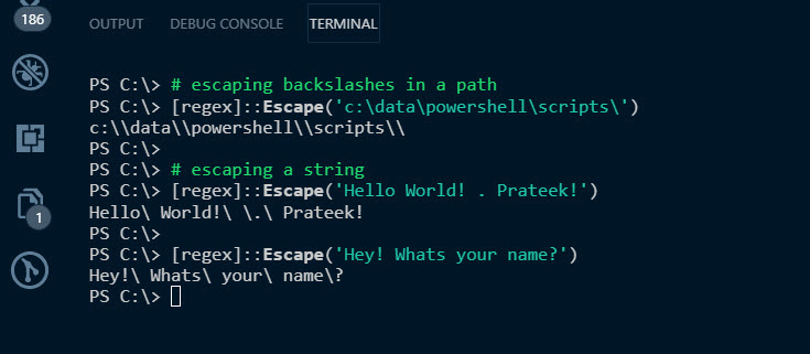 Escape Special Characters using [RegEx] in PowerShell