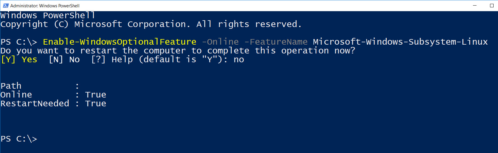 Install Windows Sub-System for Linux