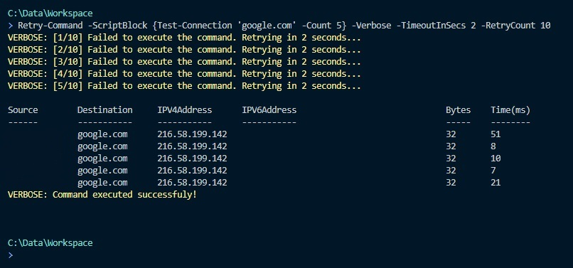 Retry Commands in PowerShell