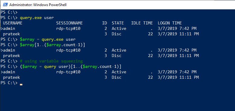 PowerShell Variable Squeezing