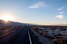 On the road before sunrise to start our desert crossing towards Death Valley. Near Lone Pine, CA, USA