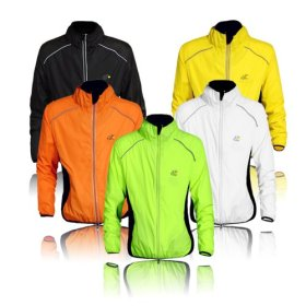 WOLFBIKE Tour de France Cycling Jacket Jersey Sportswear Water-Resistant Running Biking Jacket Long Sleeve Wind Coat Breathable Quick Dry, Available 5 Colors – Black White Green Orange Yellow