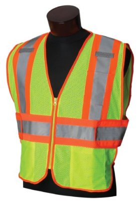Jackson Safety 20298 ANSI Class 2 Two-Tone Polyester Safety Vest, Lime Mesh, Silver Reflective Tape with Orange Trim