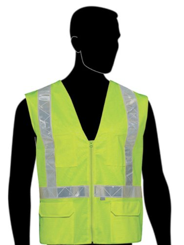 Liberty HiVizGard Polyester Surveyors Class 2 Vest with 2″ Wide Reflective Stripes, 6X-Large, Fluorescent Lime Green