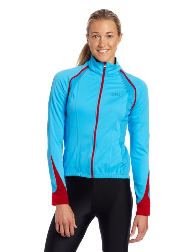 Gore Bike Wear Women's Phantom 2.0 Windstopper  Soft Shell Jacket, Waterfall Blue/Rich Red, Medium