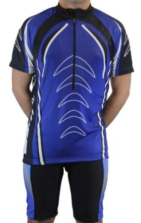 Men's Sublimated Print Race Cut Short-Sleeve Biking Cycling Jersey (X-Large, Blue)