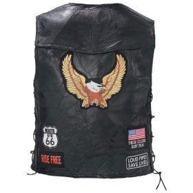 Diamond Plate Rock Design Genuine Buffalo Leather Eagle Biker Vest