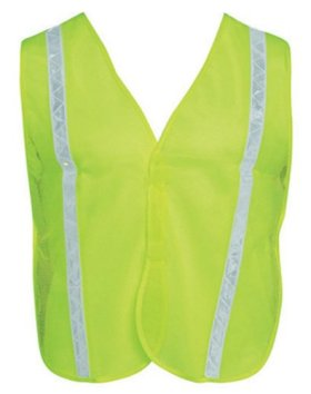 Liberty HiVizGard Polyester Mesh General Purpose Vest with 1″ Wide PVC White Stripes, Fluorescent Lime Green